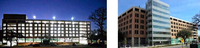 UNT Highland Street Parking Garage and Administration Offices, Denton, Texas – 950 vehicles, Satellite Chiller Plant & Parking Administration, Received LEED V 2.2 Gold Certification 2012